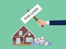 贷款fha例证用拿着海报房子和现金金钱堆的手 免版税库存照片
