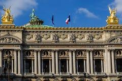 歌剧国家de巴黎结构上详细资料 前面门面1 免版税库存照片