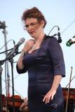 歌剧女演员和歌手阿里纳Shakirova (俄罗斯),女次高音,在露天舞台 库存照片
