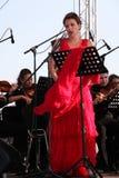 歌剧歌手达尼埃拉schillaci (斯卡拉大剧院,意大利)女高音,在露天舞台 库存照片