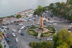 歌剧正方形日落视图在开罗 免版税库存图片