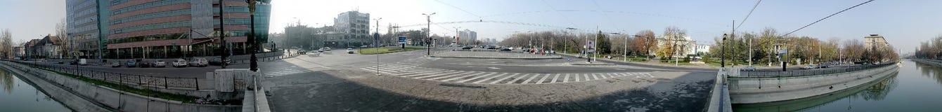 歌剧正方形,布加勒斯特, 360度全景 免版税图库摄影