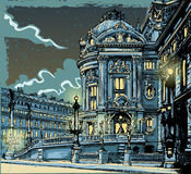 歌剧葡萄酒手拉的视图在巴黎 皇族释放例证