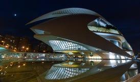 以歌剧院为特色的巴伦西亚都市风景在晚上,在艺术集中 免版税库存图片