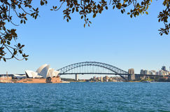 歌剧院和港口桥梁 免版税库存图片