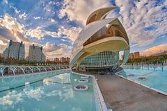 歌剧院在艺术&科学城市复杂在巴伦西亚 库存图片
