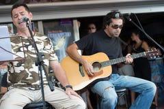 歌唱家和吉他弹奏者 免版税库存图片
