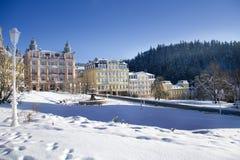 歌德广场在冬天- Marianske Lazne -捷克 库存图片