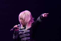 歌手伊琳娜Allegrova在阶段执行在维克托Drobysh第50个年生日音乐会期间在巴克来中心 免版税图库摄影