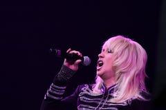 歌手伊琳娜Allegrova在阶段执行在维克托Drobysh第50个年生日音乐会期间在巴克来中心 免版税库存图片