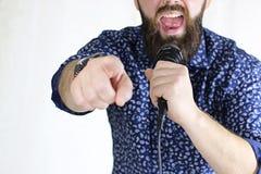 歌手唱歌阶段光 免版税库存照片
