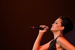 歌手斯拉娃在阶段执行在维克托Drobysh第50个年生日音乐会期间在巴克来中心 库存图片