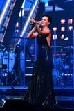 歌手斯拉娃在阶段执行在维克托Drobysh第50个年生日音乐会期间在巴克来中心 免版税图库摄影