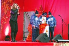 歌手莉莎Lukashina在阶段执行 免版税库存照片