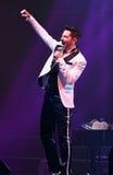 歌手Avraam拉索在阶段执行在维克托Drobysh第50个年生日音乐会期间在巴克来中心 免版税图库摄影