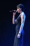 歌手Nastasia Samburskaya在阶段执行在维克托Drobysh第50个年生日音乐会期间在巴克来中心 免版税库存图片