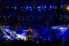歌手Sakis执行在疯狂的北部阶段节日的Rouvas 库存照片