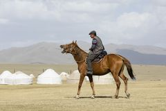 歌曲Kul,吉尔吉斯斯坦, 2018年8月8日:吉尔吉斯乘驾在干草原的一匹马 库存照片