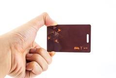 阻止安全限界钥匙卡片的手 免版税库存照片