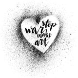 终止战争 手拉的刷子墨水字法 库存照片