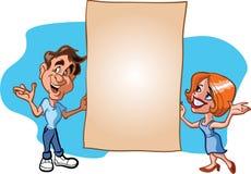 阻止页的男人和妇女 免版税图库摄影