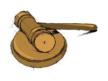 正义发嗡嗡声的东西 惊堂木可实现法官的照片 库存图片