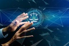 正义在一个未来派接口的平衡象 免版税库存照片