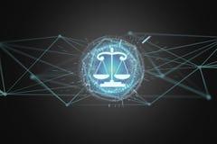 正义在一个未来派接口的平衡象 库存照片