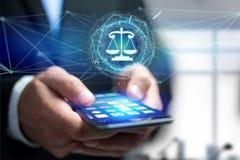 正义在一个未来派接口的平衡象 免版税图库摄影