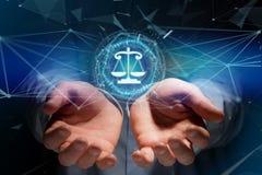 正义在一个未来派接口的平衡象 库存图片