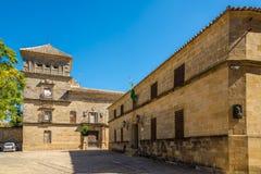 正义宫殿和Mancera宫殿大厦在宇部-西班牙 免版税库存图片