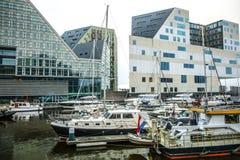正义宫殿在阿姆斯特丹是西部IJ船坞一个新的地标  阿姆斯特丹-荷兰 库存图片