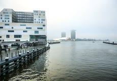 正义宫殿在阿姆斯特丹是西部IJ船坞一个新的地标  阿姆斯特丹-荷兰 图库摄影
