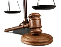 正义标度和木惊堂木 3d概念金黄正义垫座回报缩放比例 库存照片