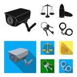正义标度,弹药筒,一个钥匙串,扣上手铐 在黑,平的样式传染媒介标志的监狱集合汇集象 免版税图库摄影
