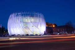 正义现代大厦议院夜视图在Gori,乔治亚 免版税图库摄影