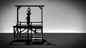正义的夫人在绞架3d翻译的 图库摄影