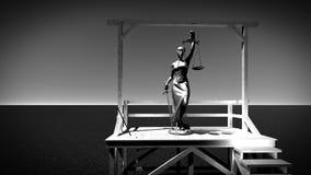 正义的夫人在绞架3d翻译的 免版税库存图片