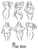 正大小模型妇女剪影 手图画样式 与超重的时尚商标 弯曲的身体象设计 也corel凹道例证向量 向量例证