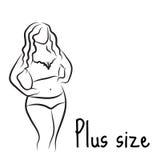 正大小模型妇女剪影 手图画样式 与超重的时尚商标 弯曲的身体象设计 也corel凹道例证向量 皇族释放例证