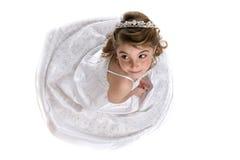正式女孩褂子冠状头饰白色 免版税库存照片
