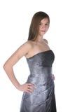 正式女孩褂子灰色相当无背带少年 免版税库存图片