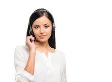 黑正式衣裳的一名年轻女实业家在白色 库存照片
