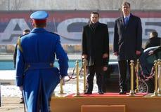 正式访问的希腊总理阿列克西斯・齐普拉斯向贝尔格莱德 免版税库存照片