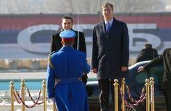 正式访问的希腊总理阿列克西斯・齐普拉斯向贝尔格莱德 库存照片