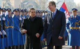 正式访问的希腊总理阿列克西斯・齐普拉斯向贝尔格莱德 免版税图库摄影