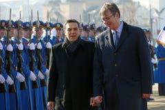 正式访问的希腊总理阿列克西斯・齐普拉斯向贝尔格莱德 图库摄影