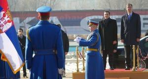 正式访问的希腊总理阿列克西斯・齐普拉斯向贝尔格莱德 库存图片