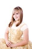 正式金子微笑的白色 免版税库存图片
