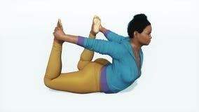 正弓姿势瑜伽的4K大小非洲妇女 库存例证